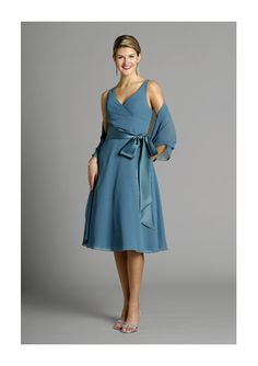 df1f215d8cd V-neck blue chiffon sleeveless pleated sash bowknot tea-length Mother Of  The Bride Dress