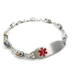 MyIDDr - Engraved Millefiori Glass Breast Cancer Bracelet Black/White Flower Pattern Red: Wrist Sz 7""