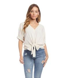 Tie-Front Top   KarenKane Front Tie Top, Karen Kane, Cuff Sleeves, Blouse Styles, How To Make, How To Wear, V Neck, Chic, Model