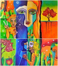 Garten Eden eins und zwei gemalt mit Acryl auf Holz
