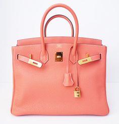 Hermes: Authentic Hermes Birkin 35 Crevette Pink Bag Gold Hw New   MALLERIES