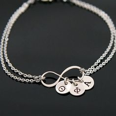 INFINITY Sorority Bracelet, Silver Infinity Initial Bracelet, Greek Initial Charm, Sister Infinity Bracelet, 1 up to 6 Charms. Sister Infinity, Infinity Charm, Sister Bracelet, Initial Bracelet, Custom Gift Cards, Sorority Sisters, Personalized Charms, Initial Charm, Round Beads
