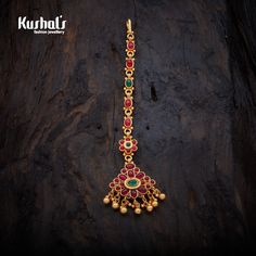 Historic Antique Tikka studded with Ruby Green synthetic stones, & Copper Alloy with Gold Polish.