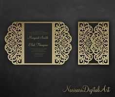 Elegant Laser cut Gate fold Wedding / Quinceanera Invitation Card Template, SVG DXF files, for Silhouette Cameo, Cricut cutting machines Laser Cut Invitation, Wedding Invitation Card Template, Laser Cut Wedding Invitations, Cricut Wedding, Wedding Paper, Wedding Cards, Pocket Envelopes, Card Making Designs, Silhouette Cameo Projects