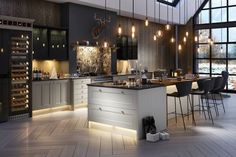 17 Charming Kitchen Lighting Ideas (to State Your Room Nuance), Home Decor, Not only the lighting will be a perfect complement to your existing kitchen, nowadays the lighting fixtures will also be a gorgeous decorative element. Kitchen Without Island, Kitchen Island Decor, Home Decor Kitchen, Kitchen Styling, Interior Design Kitchen, Living Room Kitchen, Living Rooms, U Shaped Kitchen Island, Country Kitchen Diner