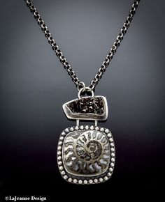 Pyritized Ammonite and Druzy Sterling Silver Necklace