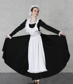 VICTORIAN MAID/MAID BALLET / DANCE COSTUME Nutcracker Collection 1-800-292-1902  CHEERFUL MAID - No skimping on this one! Full circle skirt spandex dress with eyelet trimmed collar and generous frilly apron. Back zipper closure, hat included. Made in all child and adult sizes!
