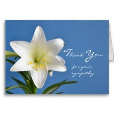 Shop Sympathy Memorial Thank You Note Card, Easter Lily created by sympathythankyou. Sympathy Thank You Cards, Thank You Note Cards, Custom Thank You Cards, Funeral Thank You Notes, Bereavement, Condolences, Blue Design, Lily, Easter