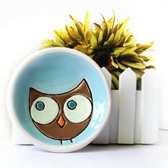 Ceramic Owl Plate Dish in Turquoise Brown and Green with Orange Beak Trinket Ring Holder. $18,00, via Etsy.