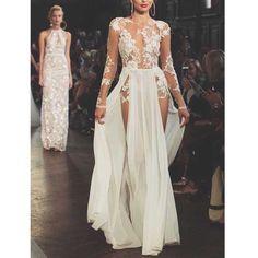 Ivory Long Sleeves Seen Through Split Sexy Long Prom Dresses