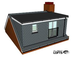 Types of Loft Conversions - Flat Roof Dormer Loft Conversion Modelled from Drawings or Plans