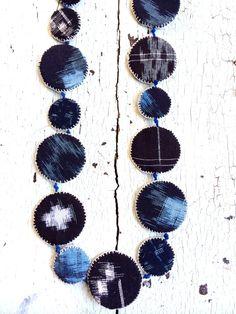 Indigo Kasuri Textile Necklace by lesliejanson