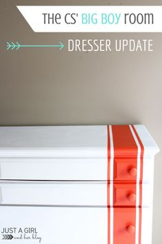 Gorgeous dresser with racing stripes-- perfect for a boy room! | Just a Girl and Her Blog