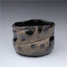 Artist: Suzuki Goro, Title: Kuro Oribe Teabowl  - click for larger image