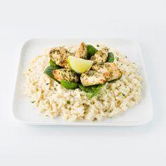 L'Expressif : risotto, aiguillettes de poulet, sauce pesto basilic thaï et citron vert
