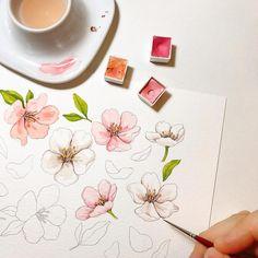 벚꽃 진행중 이것도 마스킹테이프가 될 그림이에요 #이랑그림
