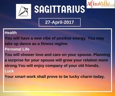 Check Your Today's Sagittarius Free Daily Horoscope (27-April-2017). Read your detailed horoscope at astrovidhi.com. Capricorn Daily Horoscope, Daily Zodiac, Free Daily Horoscopes, Zodiac Signs Aquarius, Scorpio Zodiac, Specials Today, Health Programs, Trip Planning