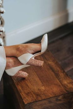 Ivory I Am Florence wedding shoes with rose gold glitter block heels from Frances Day Bridal. Images by Pear & Bear Photography shoes Modern Bali Bride Featuring Jenny Packham, Suzanne Neville + Jesus Peiro Designer Wedding Shoes, Wedding Shoes Bride, Wedding Boots, Bride Shoes, Rose Gold Heels Wedding, Best Wedding Shoes, Wedding Shoes Block Heel, Wedding Ceremony, Glitter Wedding Shoes