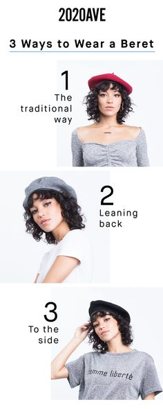 How to Wear a #beret 3 Ways. #2020AVE Red Berets, Wool Berets, Fasion, Fashion Outfits, Womens Fashion, Fashion Hats, Outfits With Hats, Casual Outfits, French Hat