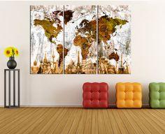 push pin world map canvas wall art world map by WorldWallArtShop
