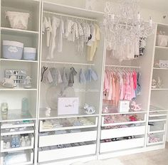 A gorgeous boy-girl shared closet with plenty of storage Credit to @baby_mayssa
