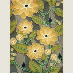 Fireplace tile, NICE: Cary Philips design for Motawi Tileworks 6x8 Tropicana (Grey)