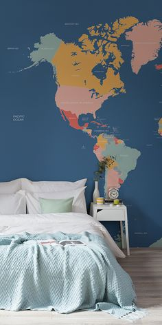 Make learning fun with this world map mural this stunning wallpaper navigator world map mural muralswallpaper gumiabroncs