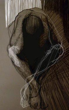 Justyna Mikusz, Drawing 1m x 0,6m. Brown paper.