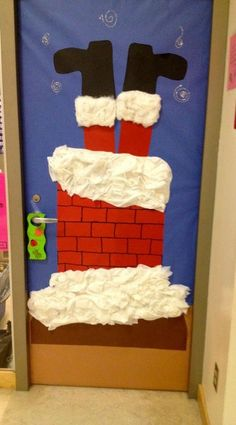 Funny Santa Christmas Door Decoration Ideas