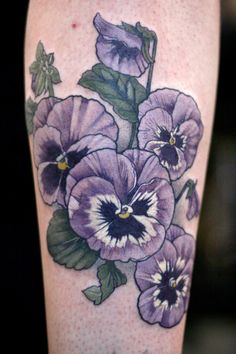 Pansies by Alice Kendall from Wonderland Tattoo in Portland, OR.