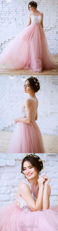 Pink Prom Dresses, Lace Prom Dresses 2018, Long Prom Dresses Princess, New Arrival Scoop Neck Prom Dresses For Teens, Tulle Prom Dresses Appliques Modest