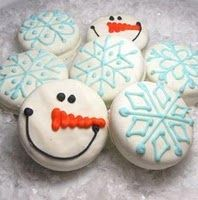 Snowman/snowflake oreos (Could be done with homemade cookies, too...)