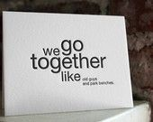 we go together like bob ross and happy little trees. letterpress card.
