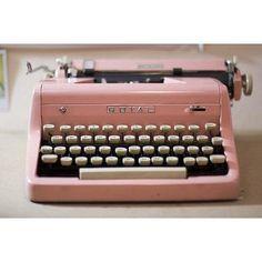 Pastel pink typewriter