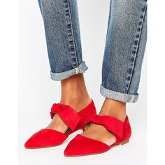 Lost Ink Bow Tie Point Flat Shoes ($41) ❤ liked on Polyvore featuring shoes, flats, red, bow flats, red pointed toe flats, t-strap flats, slip-on shoes and red flat shoes
