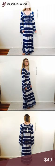 MAXI TIE DYE EMBROIDERED COVER UP SUMMER DRESS Beautiful long MAXI coverup dress, NWT, no issues. boutique Dresses Maxi