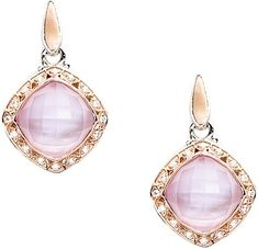 Tacori 18K925 Rose Amethyst Over Pink Mother-of-Pearl & Diamond Earrings.- since1910.com