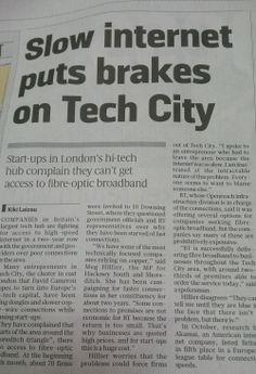 #techbrum - Slow internet puts brakes on Tech City article