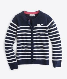 Shop Girls Whale Line Striped Cardigan at vineyard vines