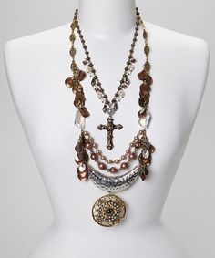 Another great find on #zulily! Silver & Gold Bead Cross Medallion Bib Necklace by Treska #zulilyfinds
