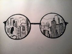 City-glasses, drawing