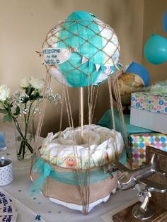 Hot air balloon diaper cake, baby shower, decorations, baby boy, explorer theme, welcome to the world