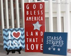 4th of July, Patriotic, God Bless America  - 3 board collection. $75.00, via Etsy.