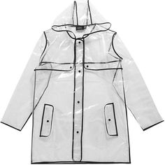 Boohoo Daisy Transparent Rain Mac With Bound Seams (€11) ❤ liked on Polyvore featuring outerwear, coats, jackets, coats & jackets, white rain coat, rain coat, mac coat, white raincoat and white coat