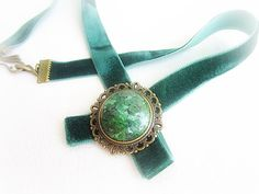 Velvet choker medallion with ruby zoisite by MalinaCapricciosa