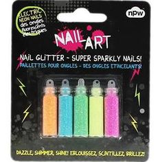 www.flamingogifts.co.uk Nail Art Pack of 5 Electric Neon Glitter