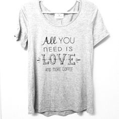 """Coffee Tee☕️ Threads Studio tee """"All you need is love and more coffee"""". So true in my life! Lace detail on sleeve. Fits small and medium. Threads Studio Tops Tees - Short Sleeve"""