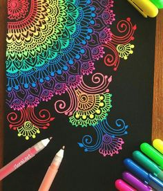 Try as a scratchboard mandala entangle. Color in a circular pattern then cover with black ink. Mandala Design, Mandala Art, Mandala Drawing, Gel Pen Art, Gel Pens, Motifs Aztèques, Posca Art, Zentangle Patterns, Zentangles