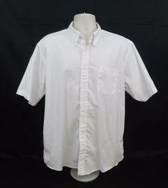 Lands End White Dress Shirt Short Sleeve Button Up 17.5 Regular #LandsEnd