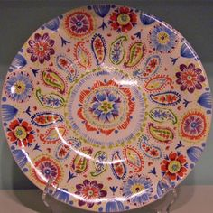 Paisley and Flowers Ceramic Plate